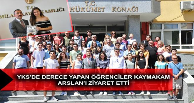 YKS'DE DERECE YAPAN ÖĞRENCİLER KAYMAKAM ARSLAN'I ZİYARET ETTİ